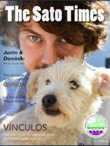 The Sato Times cover with Dominic, volunteer at ADLA