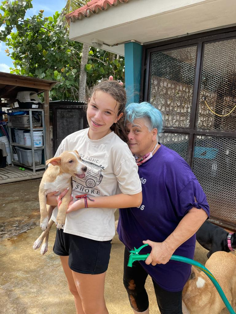 Charly and Adri at the shelter