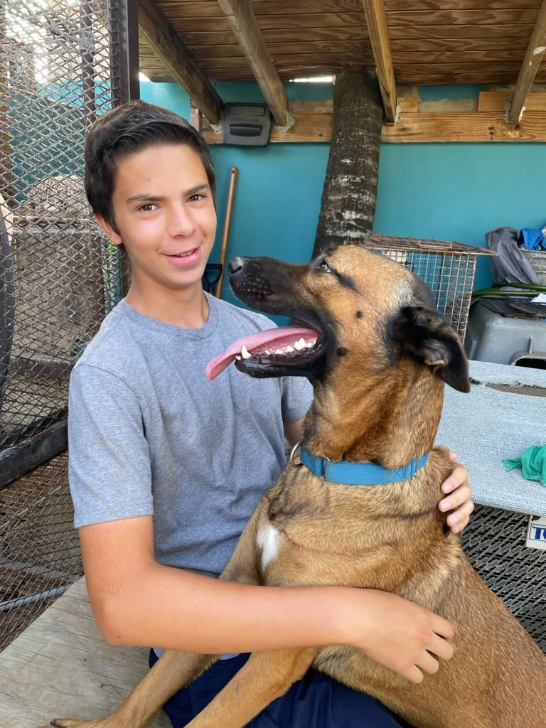 Buster and Brandon hanging out at the shelter